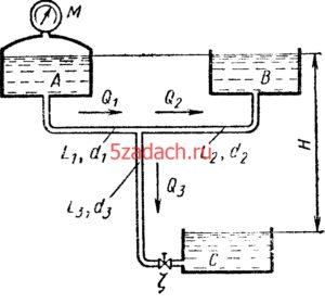 Баки A, B, C соединены трубопроводами Решение задач по гидравлике Гидравлика Куколевский куколевского