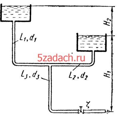 Определить расходы Q1, Q2, Q3 Решение задач по гидравлике Гидравлика Куколевский куколевского