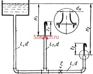 Вода вытекает в атмосферу через два Решение задач по гидравлике Гидравлика Куколевский куколевского