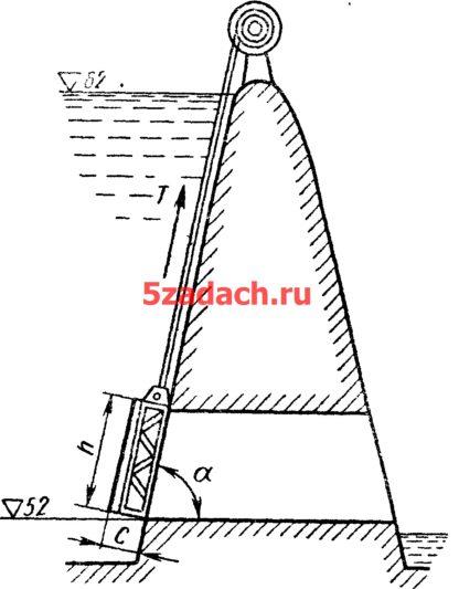 Плоский затвор закрывающий выпускное Решение задач по гидравлике Гидравлика Куколевский куколевского