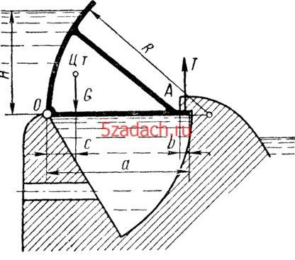 Секторный затвор плотины радиусом