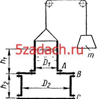 Составной цилиндрический сосуд, заполнен водой до высоты Решение задач по гидравлике Гидравлика Куколевский куколевского