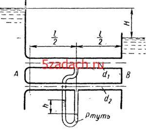Резервуары A и B с постоянными уровнями воды соединены двумя параллельными Решение задач по гидравлике Гидравлика Куколевский куколевского