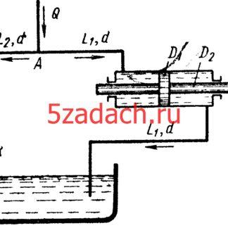 Перемещение поршня гидроцилиндра (D1= 150 мм, D2 = 50 мм) Решение задач по гидравлике Гидравлика Куколевский куколевского