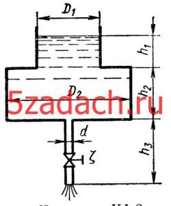 Определить время опорожнения составного цилиндрического резервуара