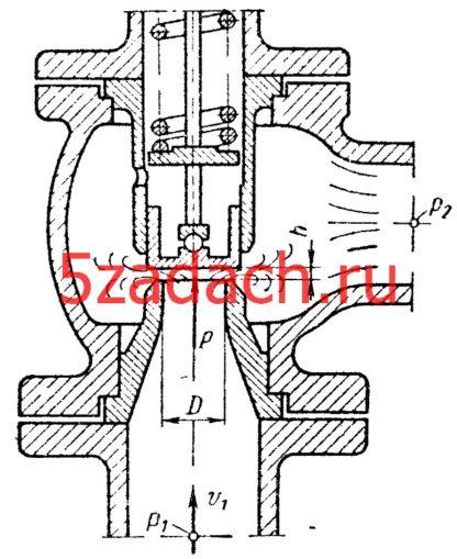 Предохранительный клапан диаметром Dм = 25 мм при открытии hм = 2 мм пропускает расход масла QМ = 5 л/с под перепадом давлений Pм = P1 - Р2 = 1 МПа. При этом сила давления на клапан Рм = 150 Н.
