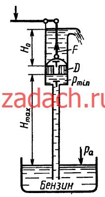 Определить максимальную высоту Hmax, на которую можно подсасывать бензин поршневым насосом, если давление его насыщенных паров составляет hн.п = 200 мм. рт. ст., а атмосферное давление hат = 700 мм. рт. ст. Чему равна при этом сила вдоль штока, если H0 = 1 м, ρб = 700 кг/м3; D = 50 мм?