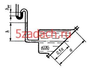 Определить силы, действующие на верхние FA и нижние FB болты крышки, которая имеет форму прямоугольника высотой a = 0,64 м и шириной b = 1,5 м. Показания ртутного вакуумметра hрт = 150 мм, высота h = 2,2 м. Угол наклона крышки 𝛼 = 45 0.